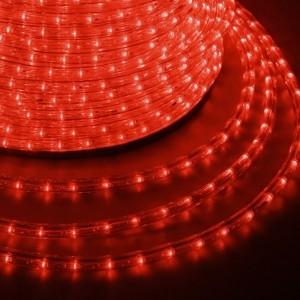 Светодиодный дюралайт 2W красный 36 LED/2,4Вт/м, эффект мерцания, D13мм, бухта 100м