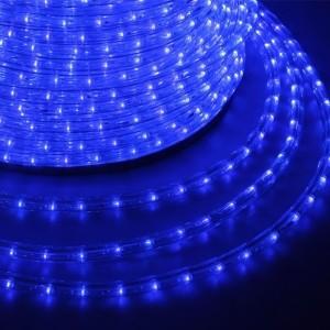 Светодиодный дюралайт 2W синий 36 LED/2,4Вт/м, эффект мерцания, D13мм, бухта 100м