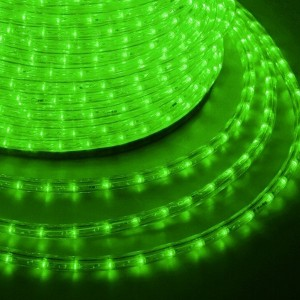 Светодиодный дюралайт 2W зеленый 36 LED/2,4Вт/м, эффект мерцания, D13мм, бухта 100м