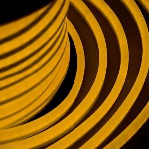 Гибкий Неон LED желтый 12х26мм 80LED/3,9Вт/м, IP54 оболочка желтая, бухта 50м