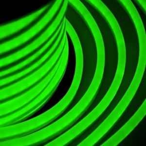 Гибкий Неон LED зеленый 12х26мм 80LED/5,3Вт/м, IP54 оболочка зеленая, бухта 50м