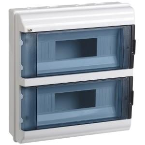 Бокс влагозащищенный КМПн-24 IP55 на 24 модуля (2х12) навесной пластиковый с прозрачной дверкой ИЭК