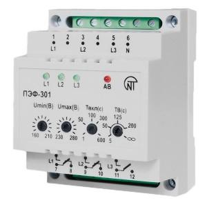 Универсальный автоматический электронный переключатель фаз ПЭФ-301 16А на DIN-рейку