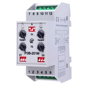 Многофункциональное реле времени РЭВ-201М 2 канала 0сек-10час на DIN-рейку