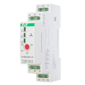 Реле контроля наличия, асимметрии фаз CZF-312 асимметрия 40-80В, задержка откл. 0,3 с, 1NO, 1NC