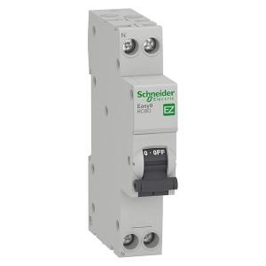Дифференциальный автомат Schneider Electric Easy9 1П+Н 10А 30мА C тип AC 4,5кА  1 модуль