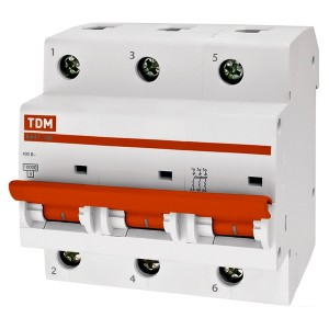 Автоматический выключатель ВА47-100 3Р 25А 10кА характеристика С TDM (автомат)