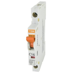 Автоматический выключатель ВА60-26-14 1Р 16А 4,5кА характеристика C 1/2 модуля TDM (автомат)