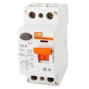 Устройство защитного отключения ВД1-63 2Р 16А 30мА тип А TDM