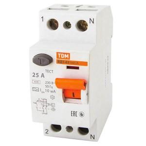 Устройство защитного отключения ВД1-63 2Р 25А 10мА тип А TDM