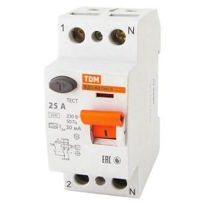 Устройство защитного отключения ВД1-63 2Р 25А 30мА тип А TDM