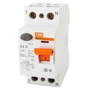 Устройство защитного отключения ВД1-63 2Р 32А 30мА тип А TDM