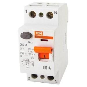 Устройство защитного отключения ВД1-63S 2Р 25А 100мА тип АС селективное TDM