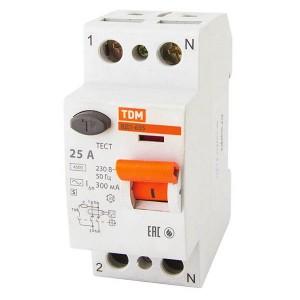 Устройство защитного отключения ВД1-63S 2Р 25А 300мА тип АС селективное TDM
