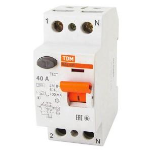 Устройство защитного отключения ВД1-63S 2Р 40А 100мА тип АС селективное TDM