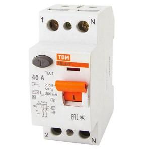 Устройство защитного отключения ВД1-63S 2Р 40А 300мА тип АС селективное TDM