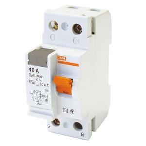 Устройство защитного отключения ВД63 2Р 40А 30мА (электронное) тип АС TDM