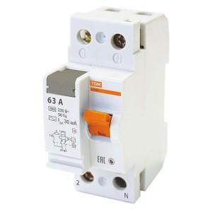 Устройство защитного отключения ВД63 2Р 63А 30мА (электронное) тип АС TDM