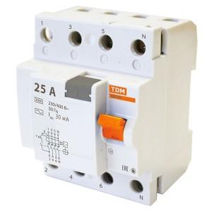 Устройство защитного отключения ВД63 4Р 25А 30мА (электронное) тип АС TDM