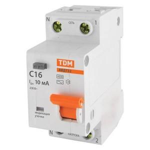 Дифференциальный автомат АВДТ 32 1P+N C16 10мА 4,5кА тип АС TDM 2 модуля