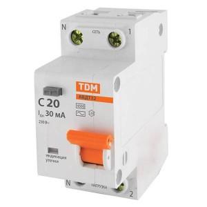 Дифференциальный автомат АВДТ 32 1P+N C20 30мА 4,5кА тип АС TDM 2 модуля