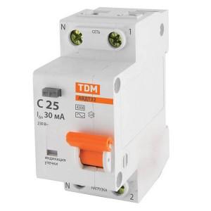 Дифференциальный автомат АВДТ 32 1P+N C25 30мА 4,5кА тип АС TDM 2 модуля