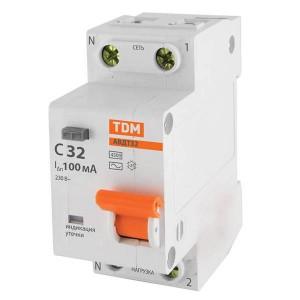 Дифференциальный автомат АВДТ 32 1P+N C32 100мА 4,5кА тип АС TDM 2 модуля