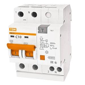 Дифференциальный автомат АД12 2Р С10А 10мА тип АС TDM 3,5 модуля