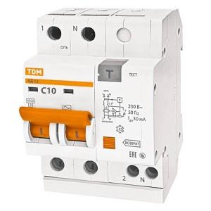 Дифференциальный автомат АД12 2Р С10А 30мА тип АС TDM 3,5 модуля