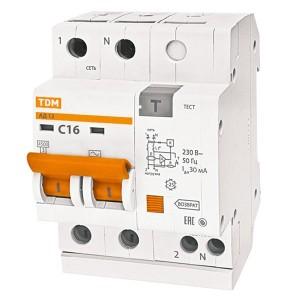 Дифференциальный автомат АД12 2Р С16А 30мА тип АС TDM 3,5 модуля
