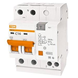 Дифференциальный автомат АД12 2Р С16А 100мА тип АС TDM 3,5 модуля
