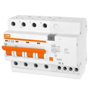 Дифференциальный автомат АД14 4Р С10А 10мА тип АС TDM 6,5 модуля