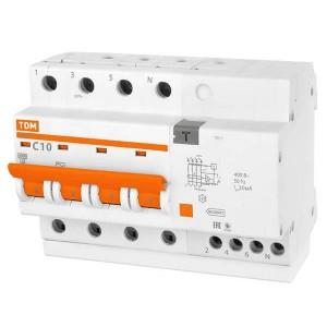 Дифференциальный автомат АД14 4Р С10А 30мА тип АС TDM 6,5 модуля