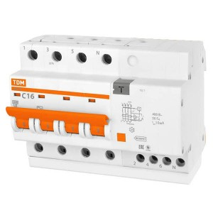 Дифференциальный автомат АД14 4Р С16А 10мА тип АС TDM 6,5 модуля