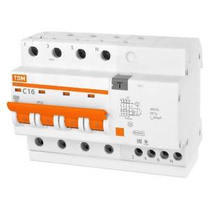 Дифференциальный автомат АД14 4Р С16А 30мА тип АС TDM 6,5 модуля