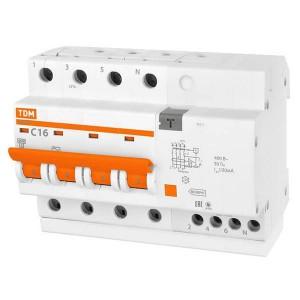 Дифференциальный автомат АД14 4Р С16А 100мА тип АС TDM 6,5 модуля