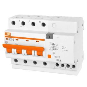 Дифференциальный автомат АД14 4Р С16А 300мА тип АС TDM 6,5 модуля