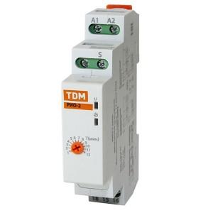 Импульсное реле освещения РИО-2 10А 230В + встроенный таймер на срабатывание от 1мин. до 12мин TDM