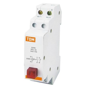 Выключатель кнопочный c фиксацией и индикацией ВК-47M 1НО;1НЗ красный TDM