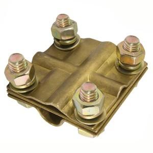 Зажим крестовой стальной с латунным покрытием ЗКСЛ25 стержень - провод 25-95мм2/полоса 3х25мм TDM