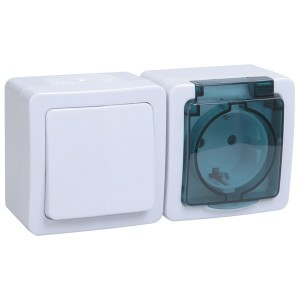 Блок выключатель + розетка с з/к IP54 ГЕРМЕС PLUS БГб-22-31-ГПБд ИЭК