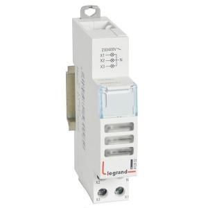 Индикатор модульный Legrand с двумя лампами 3xLED белые рассеиватели 110/400В~ 1модуль