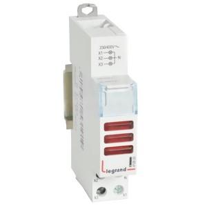 Индикатор модульный Legrand с двумя лампами 3xLED красные рассеиватели 110/400В~ 1модуль