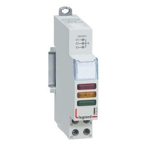 Индикатор модульный Legrand с двумя лампами 3xLED красный/желтый/зеленый рассеиватели 110/400В~ 1м