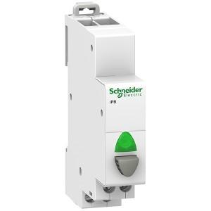 Кнопка iPB Acti 9 Schneider Electric серая+зеленый индикатор 1 полюс 1НО 20А 12-48В 1 модуль