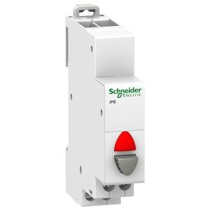 Кнопка iPB Acti 9 Schneider Electric серая+красный индикатор 1 полюс 1НЗ 20А 12-48В 1 модуль