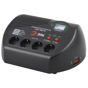 Стабилизатор напряжения СНК-2000-М 160-260В, 2000ВА, 4 розетки, метрический дисплей ЭРА