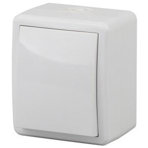 Выключатель IP54 10АХ-250В открытой установки Эра Эксперт, белый 11-1401-01