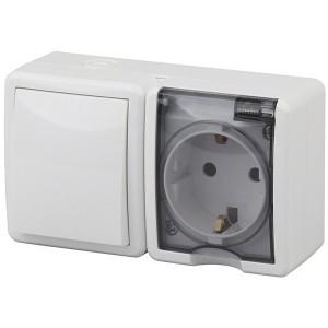 Блок розетка+выключатель IP54 16A(10AX)-250В открытой установки Эра Эксперт, белый 11-7401-01
