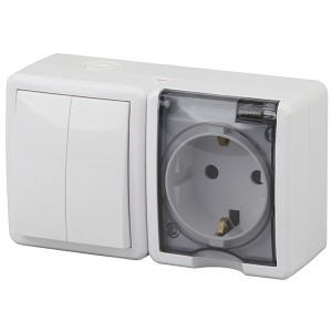 Блок розетка+выключатель двойной IP54 16A(10AX) открытой установки Эра Эксперт, белый 11-7402-01